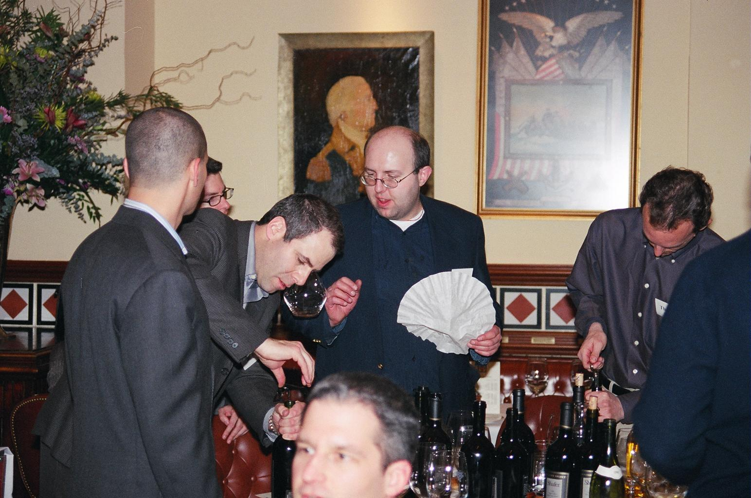 shafer hss post house nyc  mark hirshorn and tom concilio focus on opening bottles while brent clayton just tries to focus