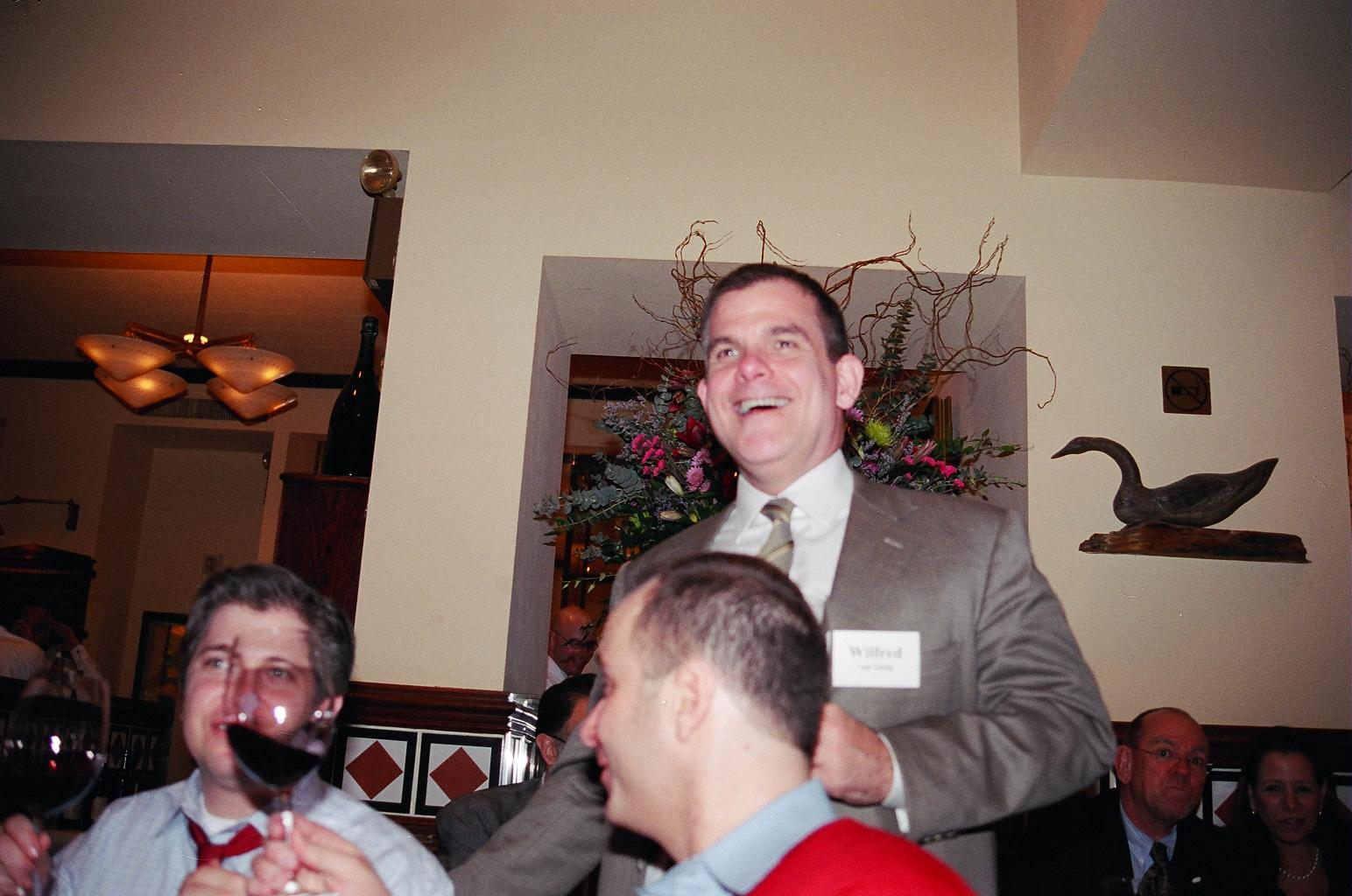 shafer hss post house nyc  michel toasts and blocks rob klafter s face while wilfred van gorp laughs